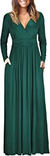 Womens Long Sleeve V-Neck Wrap Waist Maxi Dress