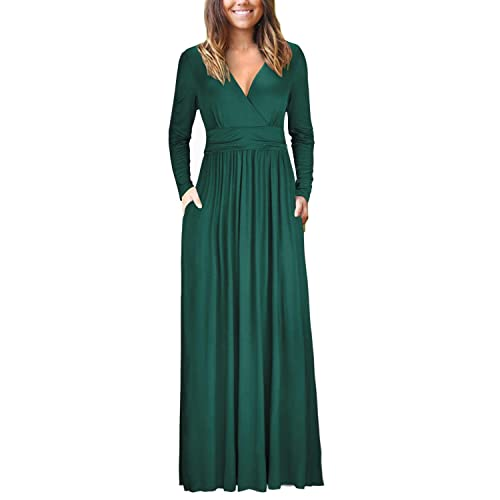 532c5aa091 OUGES Womens Long Sleeve V-Neck Wrap Waist Maxi Dress