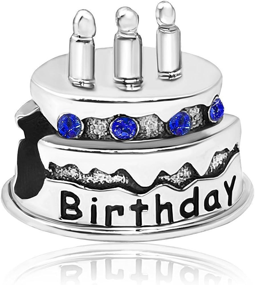 JMQJewelry Happy Birthday Birthstone Cake Candle Jan-Dec Bead Month Crystal Charms for Bracelets Grandma Mother Wife Sister Mom Jewelry