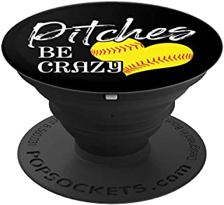 Pitches Be Crazy Heart Field Baseball Softball - PopSockets Grip and Stand for Phones and Tablets