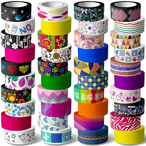 Juego de 40 rollos de cinta adhesiva decorativa Washi Tape – 15 mm de ancho Colored Masking Tape para niños y adultos adultos, Decorative Adhesive para manualidades