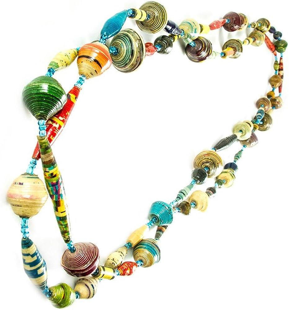 Maisha Fair Trade Strand Necklace, Verigated Multi - Colored Paper Beaded