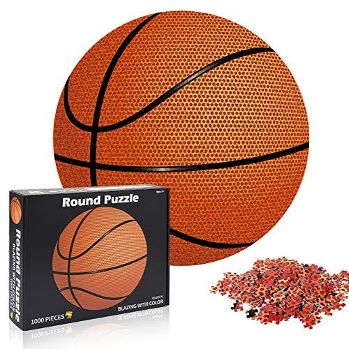 Funmo Puzzle Redondo 1000 Piezas,Puzzle Difícil y desafiante, Grande Educativo El Alivio del Estrés Juguete Relajante Juego Divertido para Adultos Niños (Baloncesto)