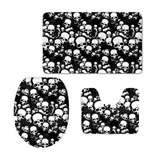 HUGS IDEA Classic Non-Slip Bath Mat Rug Set Black and White Skull Print Toilet Seat Cover Bath Mat Lid Cover (3 Piece)
