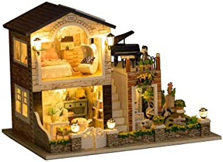 Rylai 3D Puzzles Miniature DIY Dollhouse Kit Irish Romantic Country Series Dolls Houses Accessories with Furniture LED Music Box Best Birthday Gift