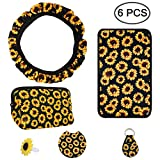 Sunflower Steering Wheel Cover, AFUNTA 6 Pcs Cute and Universal...