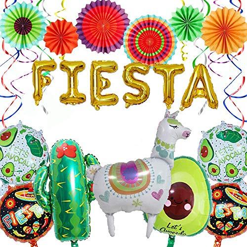 Suministros de decoración para fiestas de Cinco De Mayo, juego de 16 globos de aguacate y llama Cactus Globos de aluminio FIESTA, suministros para fiestas mexicanas Boda Cumpleaños Baby Shower