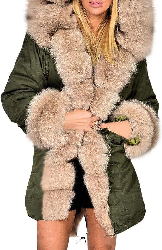 iQKA Women's Winter Warm Faux Fur Oversized Solid Hooded Coat Plus Size Thicker Long Windbreaker Jacket Coat S-5XL