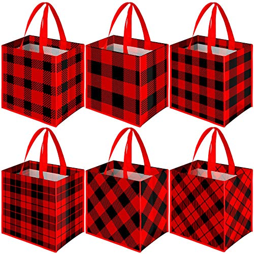 Aneco 12 Pieces Red and Black Plaid Non-Woven Bags Christmas Party Treat Bags Gift Tote Bags 9.8 x 7.9 x 9.8 Inch for Party Favors