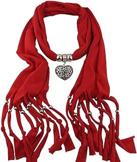 Luxsea Women's Scarf Hollow Peach Heart Pendant Tear drop Necklace Scarves Wrap