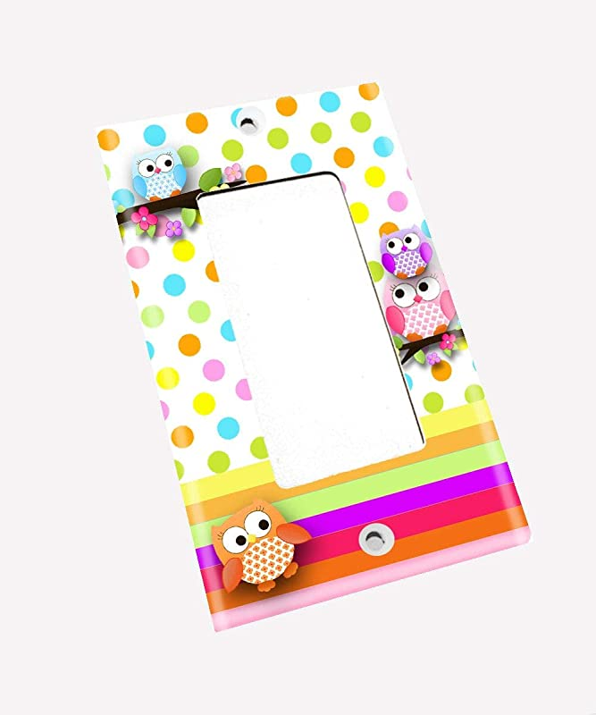 Polka Dot Owl Girls Nursery Bedroom Single Light Switch Cover LS0072 Single Decora