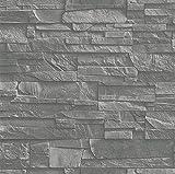 Rasch Tapeten 475029 Vliestapete in grauer Schiefer-Optik – 10,40m x 53cm (L x B) Vlies Tapete Rasch Kollektion Factory III, 10,40 x 0,53
