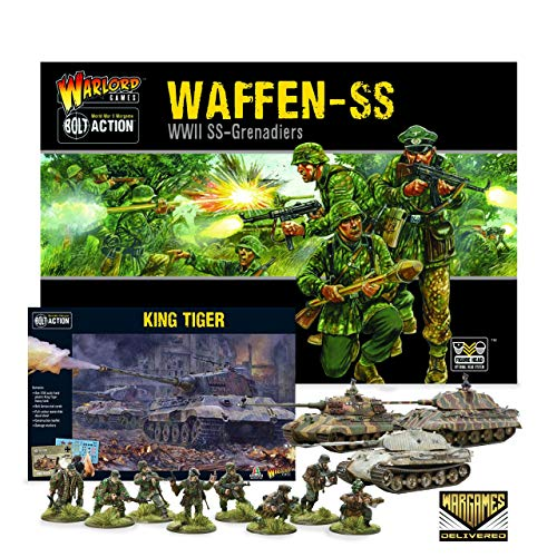 Bolt Action Miniatures - Warlord Games Waffen-SS and King Tiger Set Military Action Figures - WW2 Model Miniatures and World War II Games by Wargames Delivered