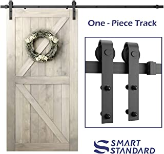 SmartStandard 8ft Heavy Duty Sliding Barn Door Hardware Kit - Smoothly and Quietly - Simple and Easy to install - Includes Step-By-Step Installation Instruction -Fit 42