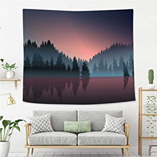 BEIVIVI Creative Custom Tapestry Lakeview and Pine Wood at Dusk Tapestry, Living Room Bedroom Decoration Tapestry, Mattress, Tablecloth