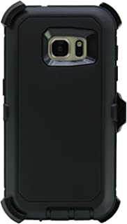 """WallSkiN Turtle Series Holster Case for Galaxy S7 (5.1""""), 3-Layer with Screen Protector, Full Body Life-Time Protection, Protective Heavy Duty & Carrying Belt Clip - Black/Black"""
