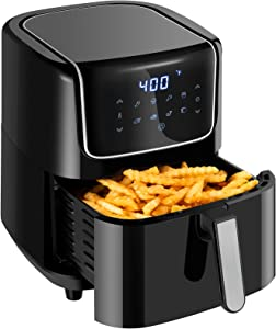Large Air Fryer 6.8QT, Electric Airfryer Toaster Oven with LED Touch Screen, 8 Presets, Nonstick Fry Basket, Dishwasher Safe, Auto Shut Off