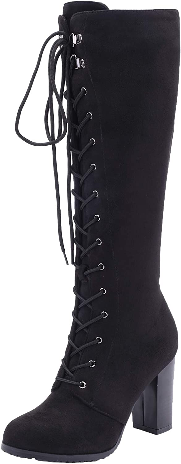Vitalo Womens Chunky Knee High Heel Lace Up Combat Boots