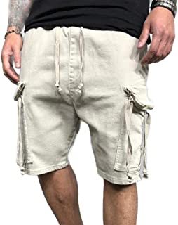 MK988 Mens Multi Pockets Casual Loose Drawstring Cargo Shorts
