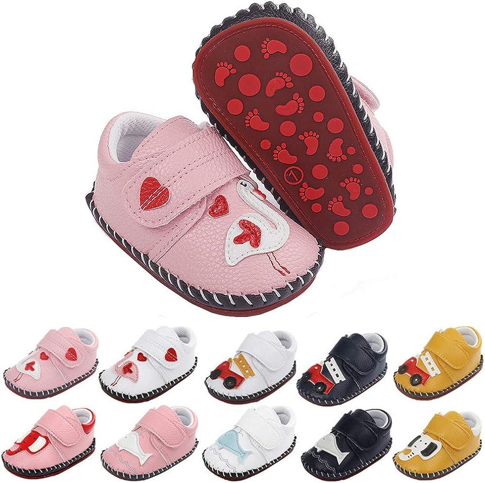 BiBeGoi Infant Baby Boys Girls Cartoon Walking Sneaker PU Leather Rubber Sole Toddler Hard Bottom First Walker Slippers Crib Shoes(Bird Pink,1)
