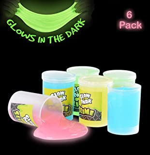Kicko Glow in The Dark Slime - 6 Pack - Assorted Neon Colors - Toy for Any Child Favor, Birthday