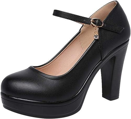 YAN Damenmode Schuhe Runde Kopf Plattform Schuhe Schnalle Flacher Mund High Heels Cheongsam Modell Laufsteg Schuhe
