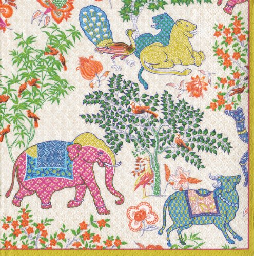 Caspari Les Jardins De Mysore - Servilletas de papel (20 unidades), diseño de...