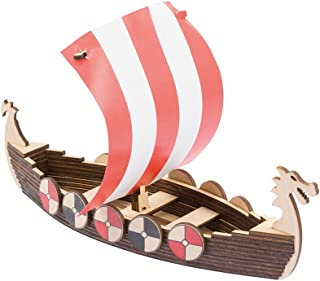 WoodWars Viking Boat Wooden Miniature Tabletop Desktop Warfare Kit - Easy Assembly and Reliable Performance - with Detailed, Full-Color Instruction Guide - 36 Pieces
