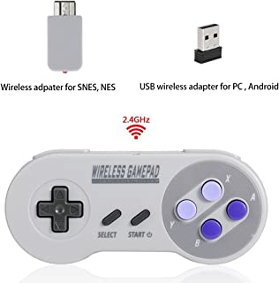 Wireless Controller for Super NES Classic Edition&NES Classic Edition, Honwally 2.4GHz USB Game pad for PC,Raspberry PI, Double Wireless Adapter (1 Pack)