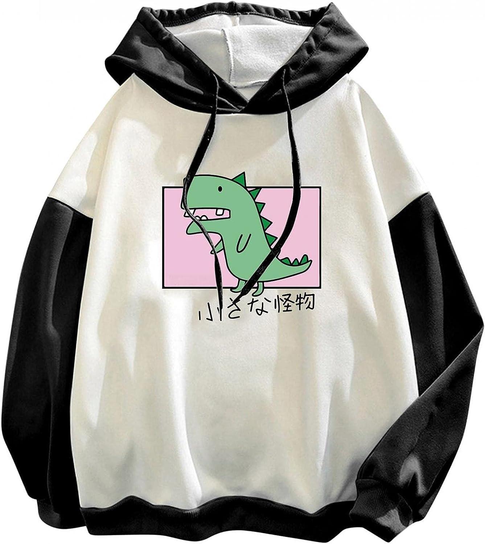 lucyouth Hoodies for Women Teens Girls Long Sleeve Casual Dinosaur Kawaii Plus Size Cute Stitching Drawstring Sweatshirt