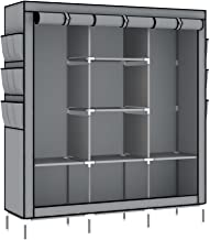 Intirilife Faltschrank 130x175x45 cm in ASCH GRAU - mit Reißverschluss Stoffschrank Kleiderschrank mit Kleiderstange, Fächern und Seitentasche - Camping Steckschrank Textil Garderobe
