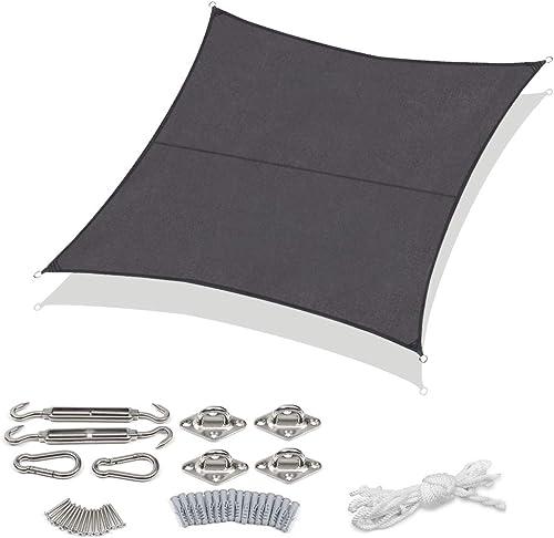 Sekey Toldo Vela de Sombra Cuadrada Protección Rayos UV, Resistente Impermeable para Patio Exteriores Jardín y Kit de...