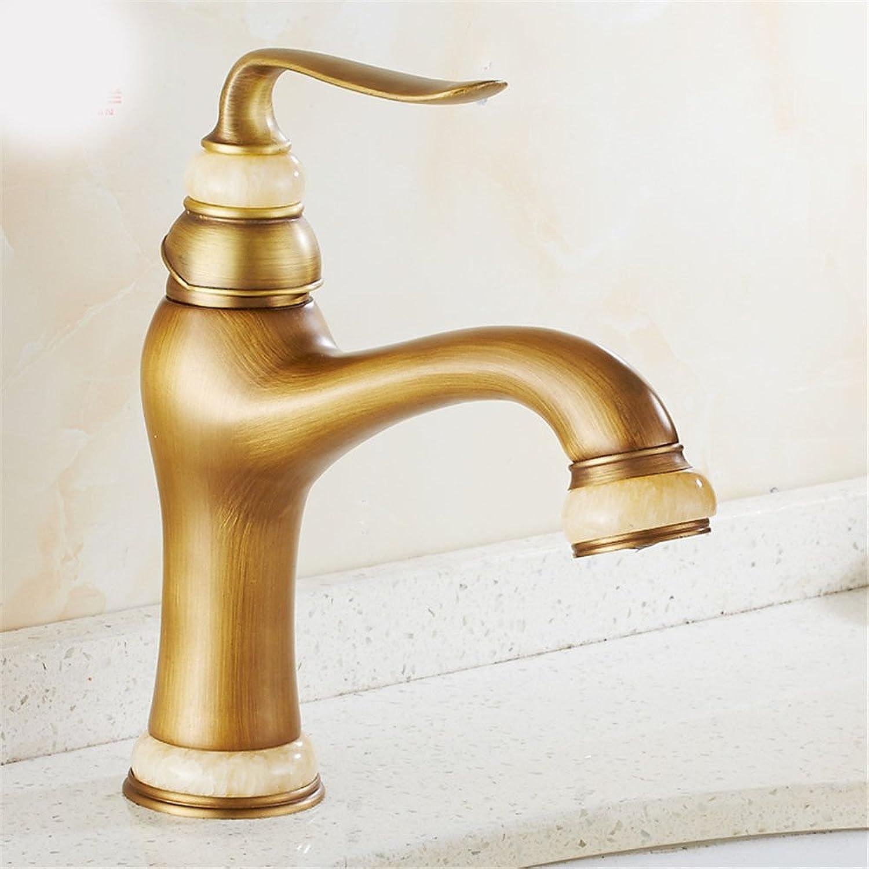 AQiMM Moderne kommerzielle Badezimmer-Wasserhahn mit Schmucksteinen, Messing, Kaltwasser, Retro-Waschtischarmatur