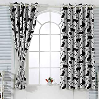 Grommet Window Curtain Curtains for bedroo Cat,Cat Silhouette and Animal Tracks Pattern Paws Footprints Kitties Different Poses,Black and White Curtain Living Room 84 x 72 inch