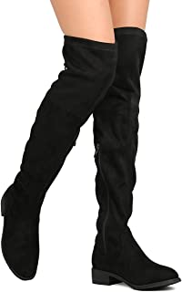 08871e134ae Nature Breeze FF72 Women Faux Suede Thigh High Drawstring Riding Boot Black