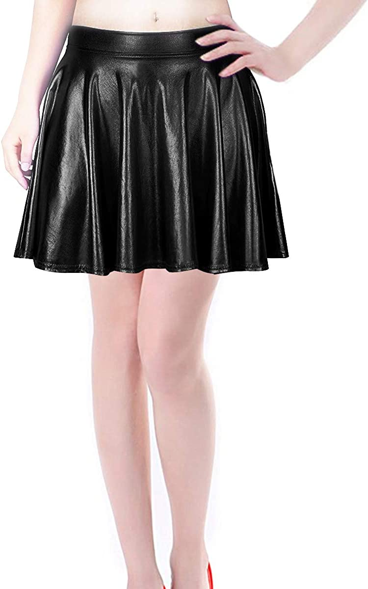 Metallic Pleated Holographic Flared Skater Skort Scooter Skirt Rave Outfit