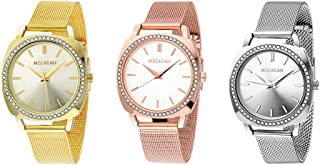 FIILIIP 3PCS Women Watches Casual Fashion Waterproof Wrist Quartz Watch Stainless Steel Band Strap Bracelet Diamond Rhinestone Mixed Color