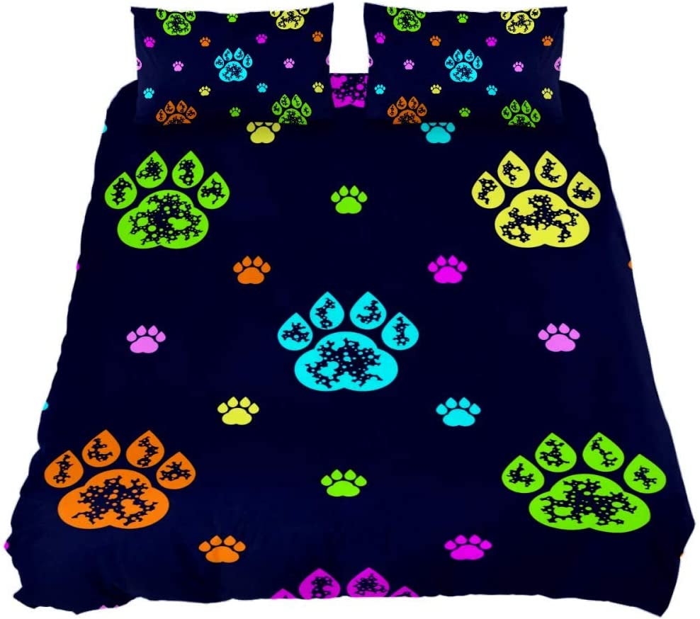 Shiiny Finally popular brand Coverlet Set Manufacturer direct delivery Colourful Dog Paw 3 wit Piece Prints Bed