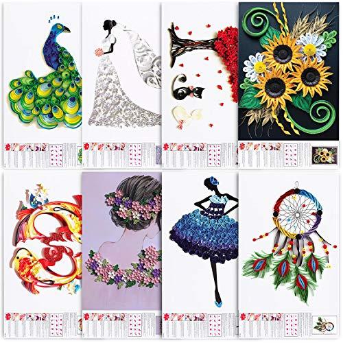 Rancco Quilling-Papierschablonen, A3, erweitertes Quilling-Kunst-Schablonen, filigranes Muster, Quilling-Papier, Bastelwerkzeug, Deko-Set, Origami-Vorlage, Wandkunst, DIY-Papier-Schablonen (8 Stück)