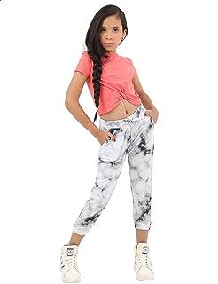Kady Tie Dye Drawstring Elastic Waist Sweatpants for Women - Black and White
