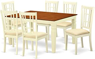 Deluxe Premium Collection Weston 7 Pc Set with a Dining Table and 6 Kitchen Chairs in Buttermilk and Cherry Decor Comfy Living Furniture