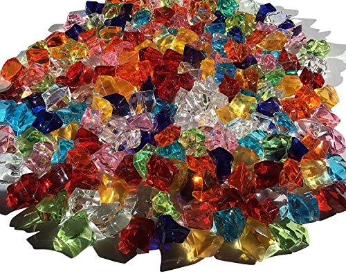 CRYSTAL KING 200 Stück 15mm Glitzernde Bunte Deko EIS Diamanten Strasssteine Acrylsteine basteln Gltzersteine Strass Steine Dekosteine zum Verzieren Dekorieren