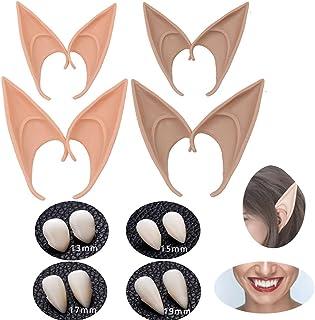 Haawooky Vampire Teeth Fangs Elf Ears,Halloween Cosplay Dentures,4 Pairs of Cosplay Fairy Pixie Elf Ears,4 Pairs of Vampir...
