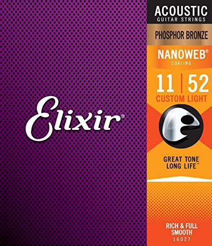 Cuerdas de guitarra acústica Elixir Strings de bronce fosforado con recubrimiento NANOWEB, calibre ligero personalizado (.011-.052)