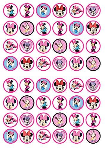 48 Minnie Mouse, Essbare PREMIUM Dicke GEZUCKERTE Vanille, Reispapier Mini Cupcake Toppers, Cake Pops, Cookies für Wafer