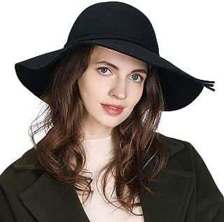 Womens 100% Wool Felt Fedora Hat Wide Brim Floppy/Porkpie/Trilby Style