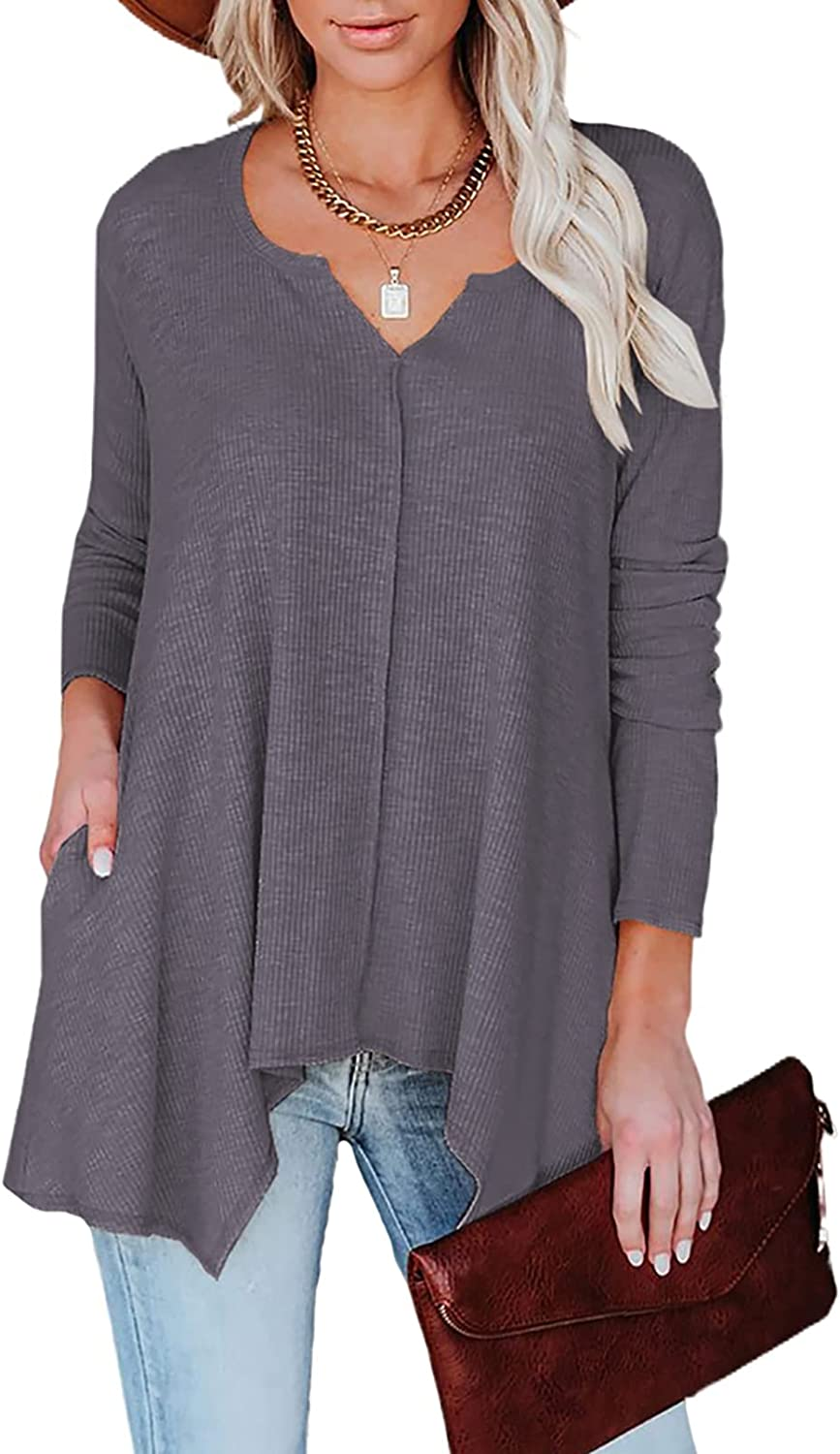Genuine Free Shipping HOTAPEI Womens Long Sleeve Split V Max 44% OFF Casual Tops Tunic Neck Loose