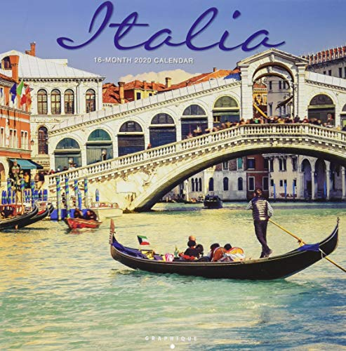 "Graphique Italia Wall Calendar, 16-Month 2020 Wall Calendar with Historic Italian Landmark Photographs, 3 Languages & Major Holidays, 2020 Calendar, 12"" x 12"""