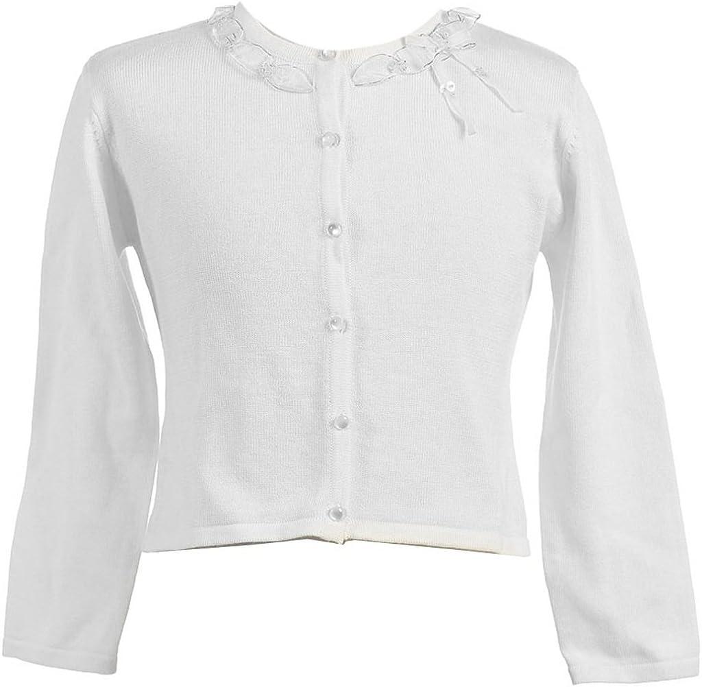 BluNight Collection Little Girls Long Sleeve Ruffle Flower Girl Cardigan Sweater Bolero