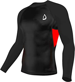 Deckra Men's Long Sleeves Compression Shirt Cool Dry Base Layer Compression Top Round Neck T-Shirt